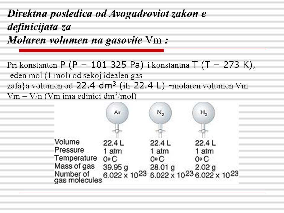 Direktna posledica od Avogadroviot zakon e definicijata za