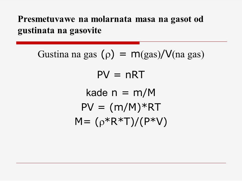 Presmetuvawe na molarnata masa na gasot od gustinata na gasovite
