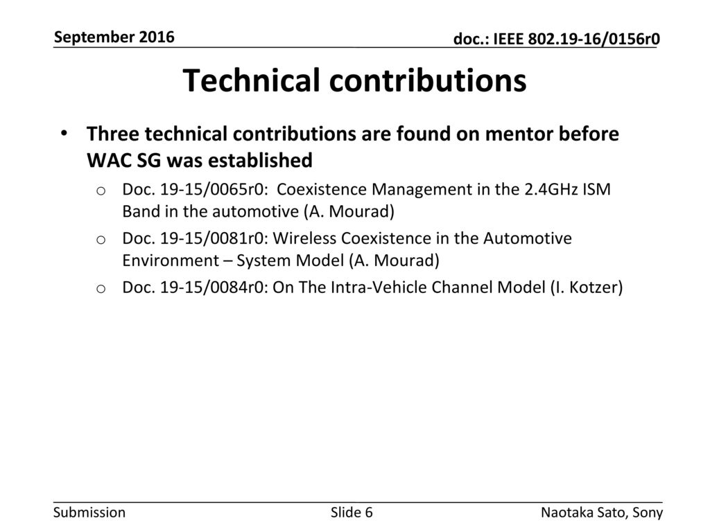 Technical contributions