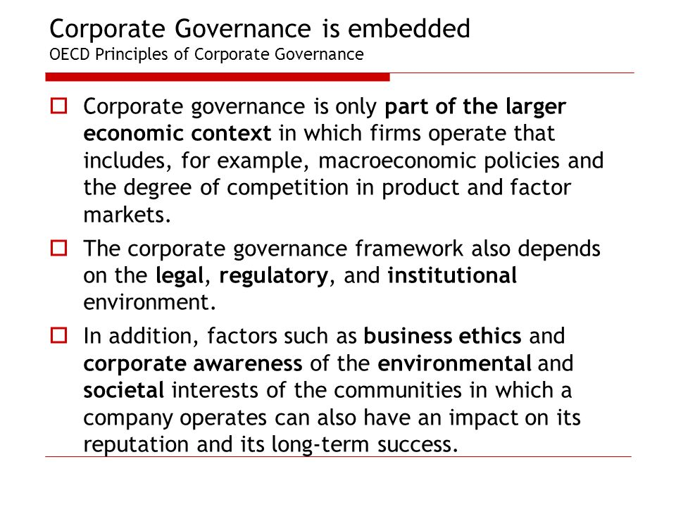 analysis of oecd principles of corporate governance Issues include analysis methods (primarily the level of implementation of  the oecd principles of corporate governance are established with a view to.