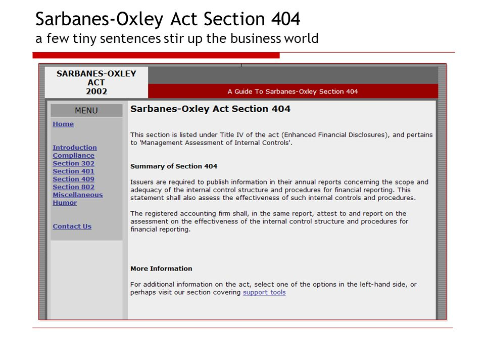 Sarbanes-Oxley Act Section 404 a few tiny sentences stir up the business world
