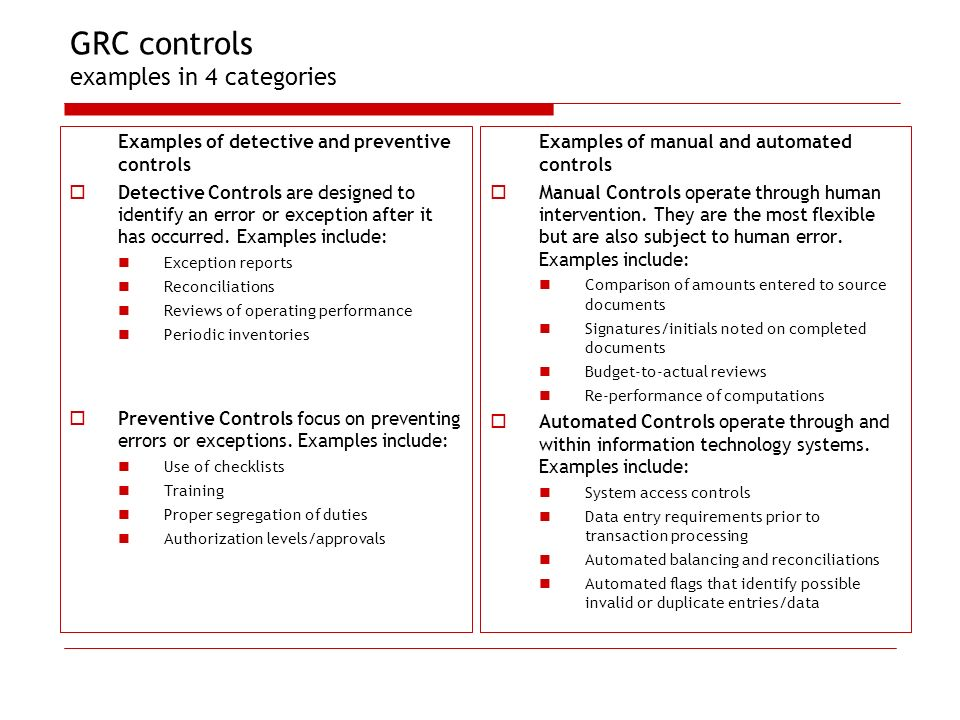 GRC controls examples in 4 categories