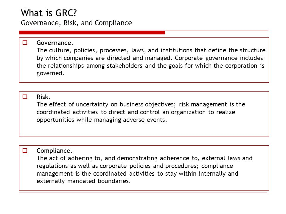 What is GRC Governance, Risk, and Compliance