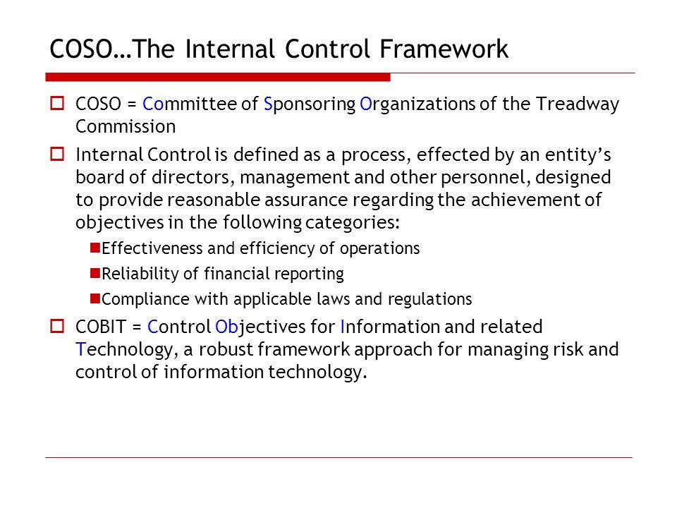 COSO…The Internal Control Framework