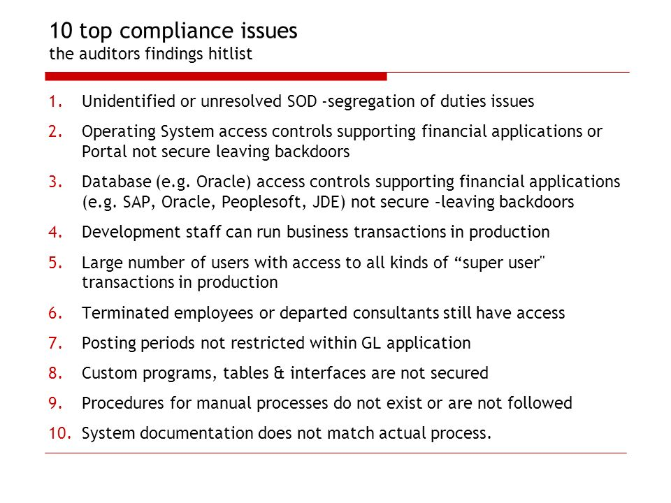 10 top compliance issues the auditors findings hitlist