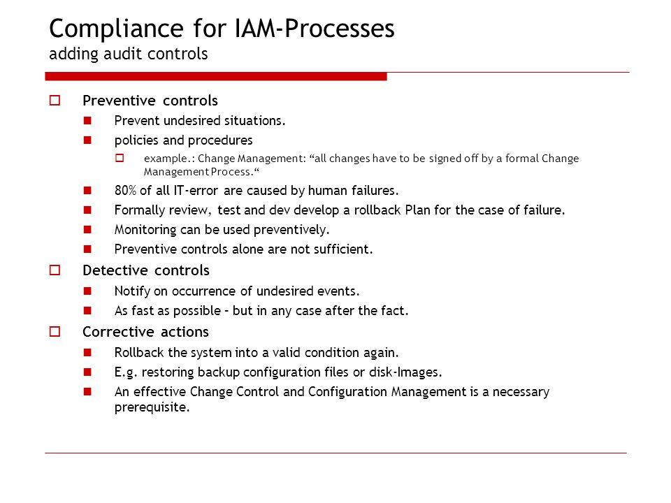 Compliance for IAM-Processes adding audit controls