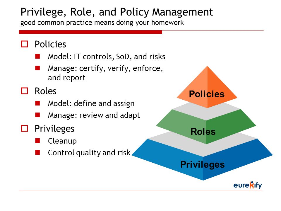 Privilege, Role, and Policy Management good common practice means doing your homework