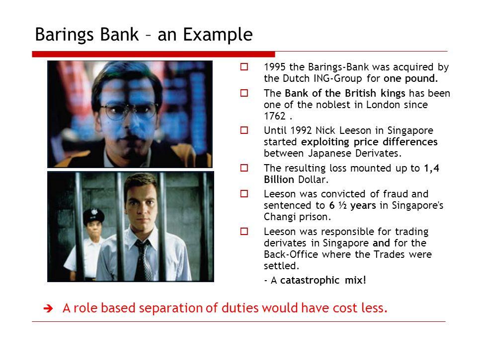 Barings Bank – an Example