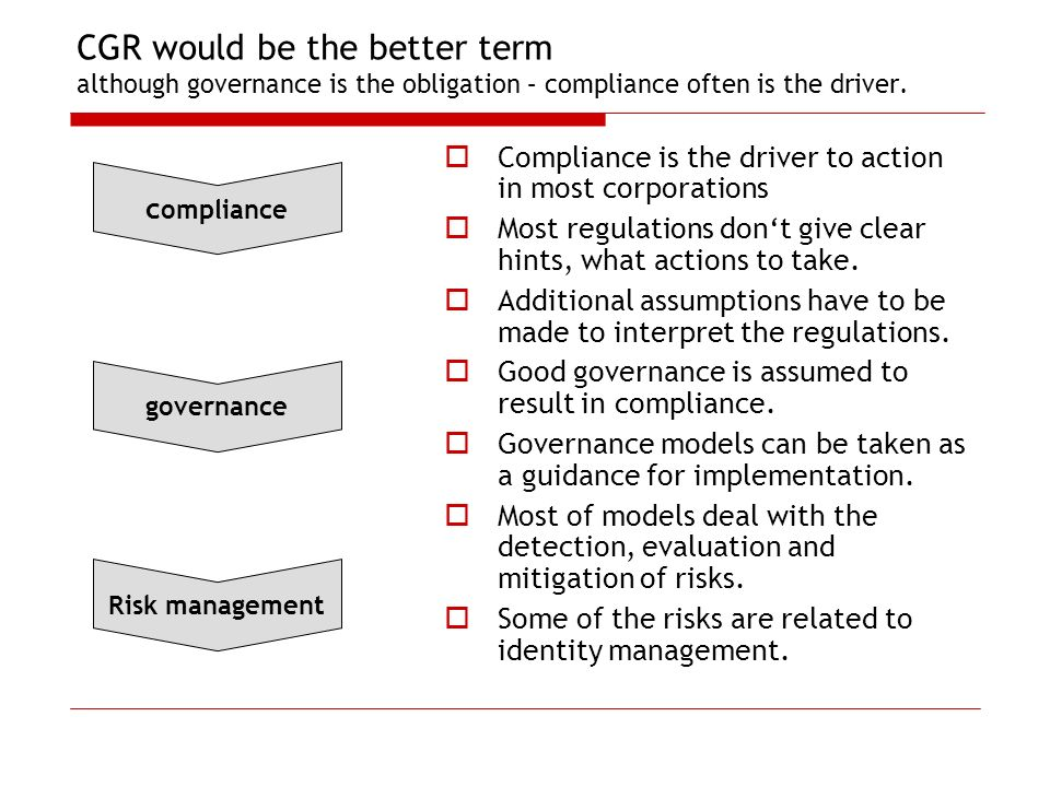 CGR would be the better term although governance is the obligation – compliance often is the driver.