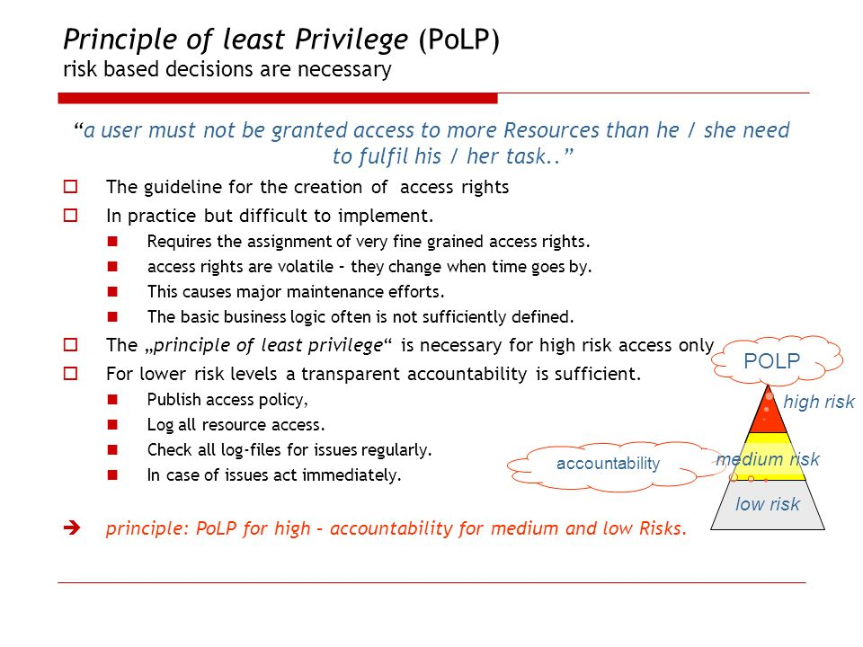 Principle of least Privilege (PoLP) risk based decisions are necessary