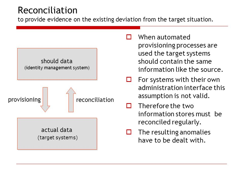 Reconciliation to provide evidence on the existing deviation from the target situation.