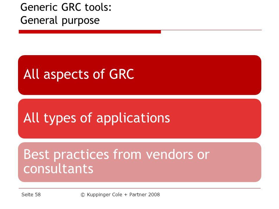 Generic GRC tools: General purpose