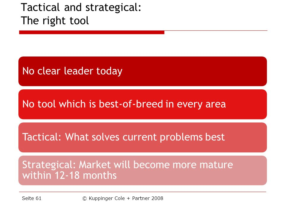 Tactical and strategical: The right tool