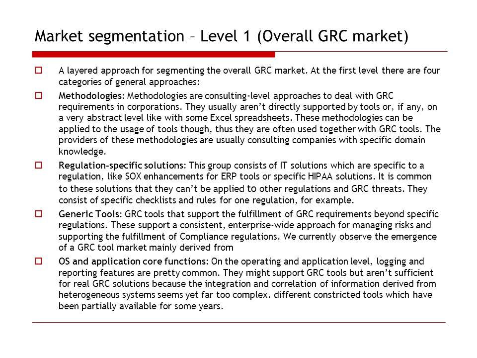 Market segmentation – Level 1 (Overall GRC market)