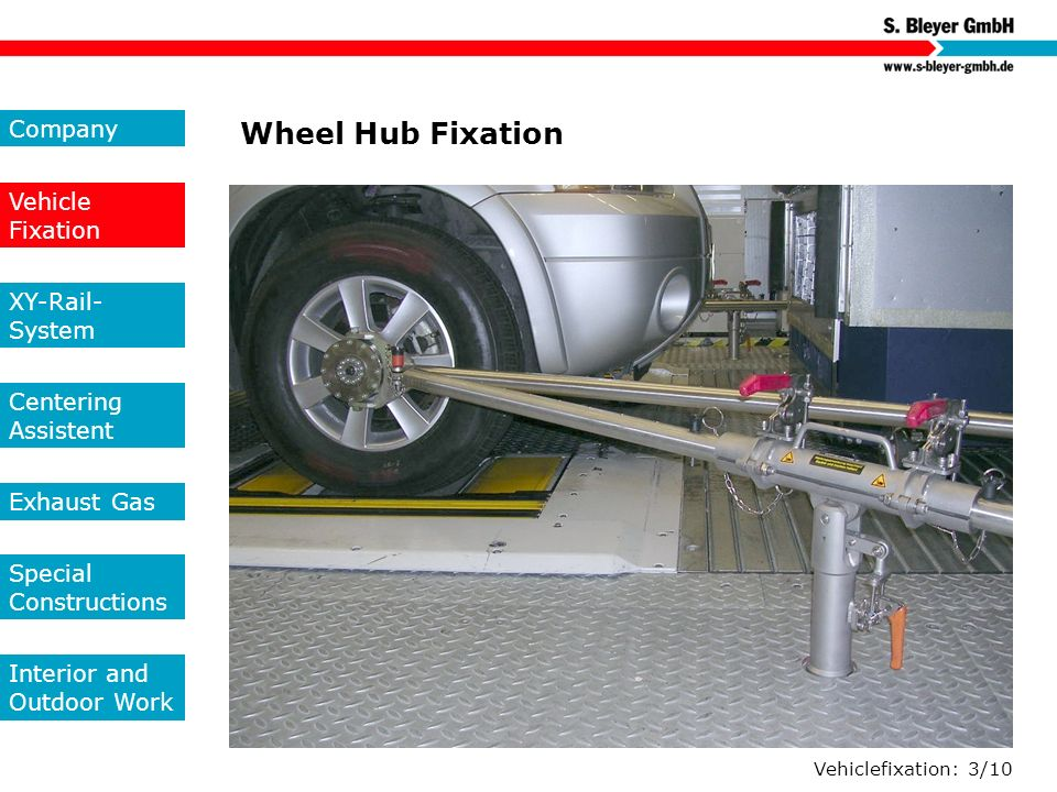 Wheel Hub Fixation Company Vehicle Fixation XY-Rail-System