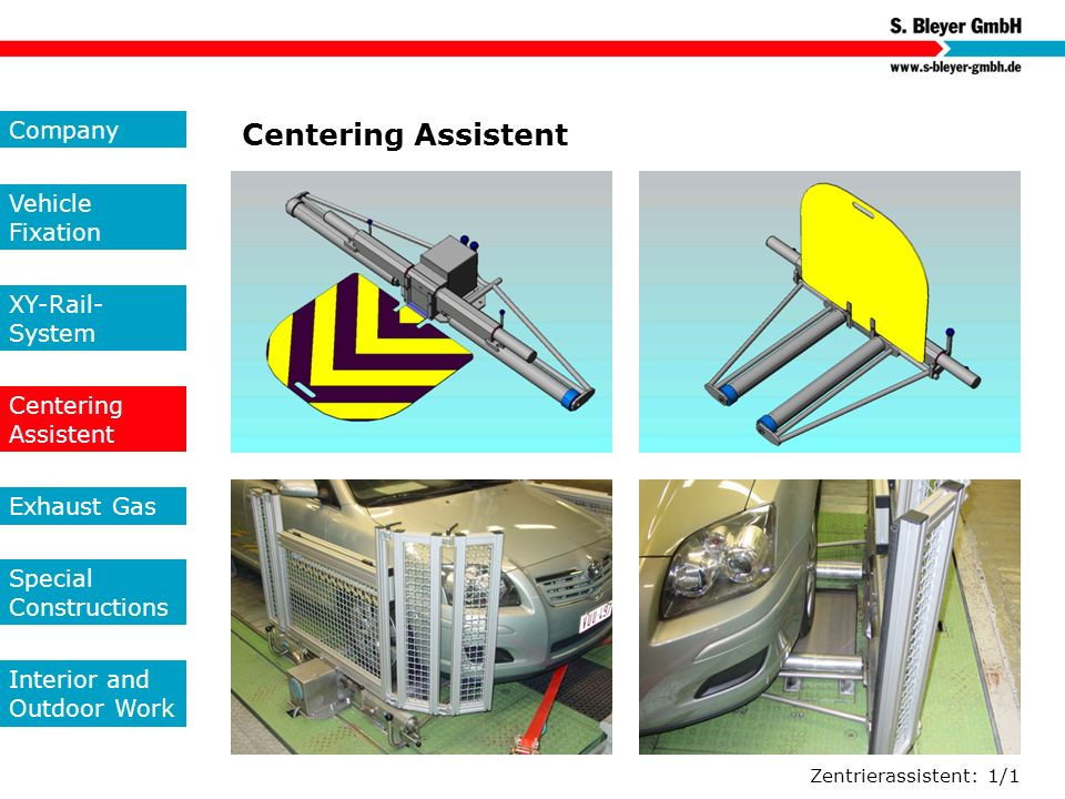 Centering Assistent Company Vehicle Fixation XY-Rail-System