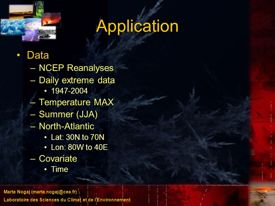 Application Data NCEP Reanalyses Daily extreme data Temperature MAX
