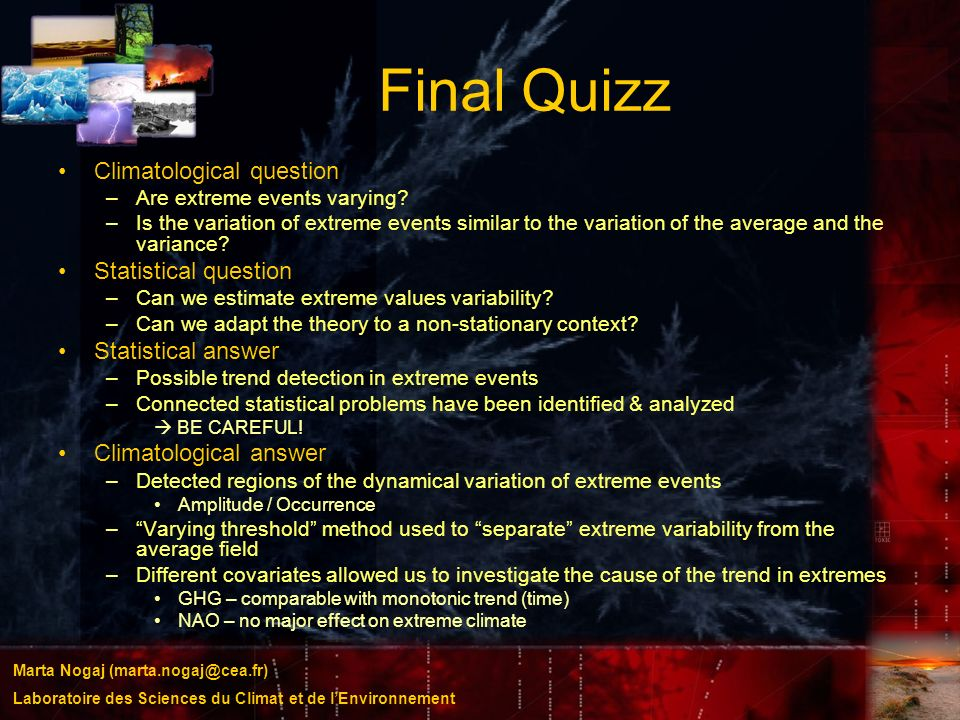 Final Quizz Climatological question Statistical question