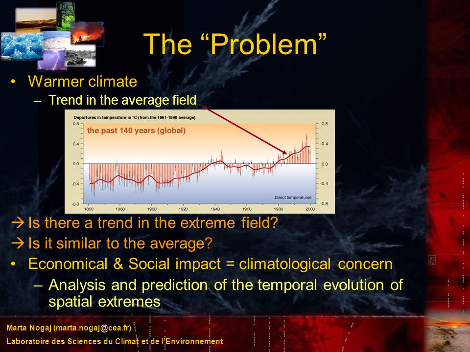 The Problem Warmer climate Is there a trend in the extreme field