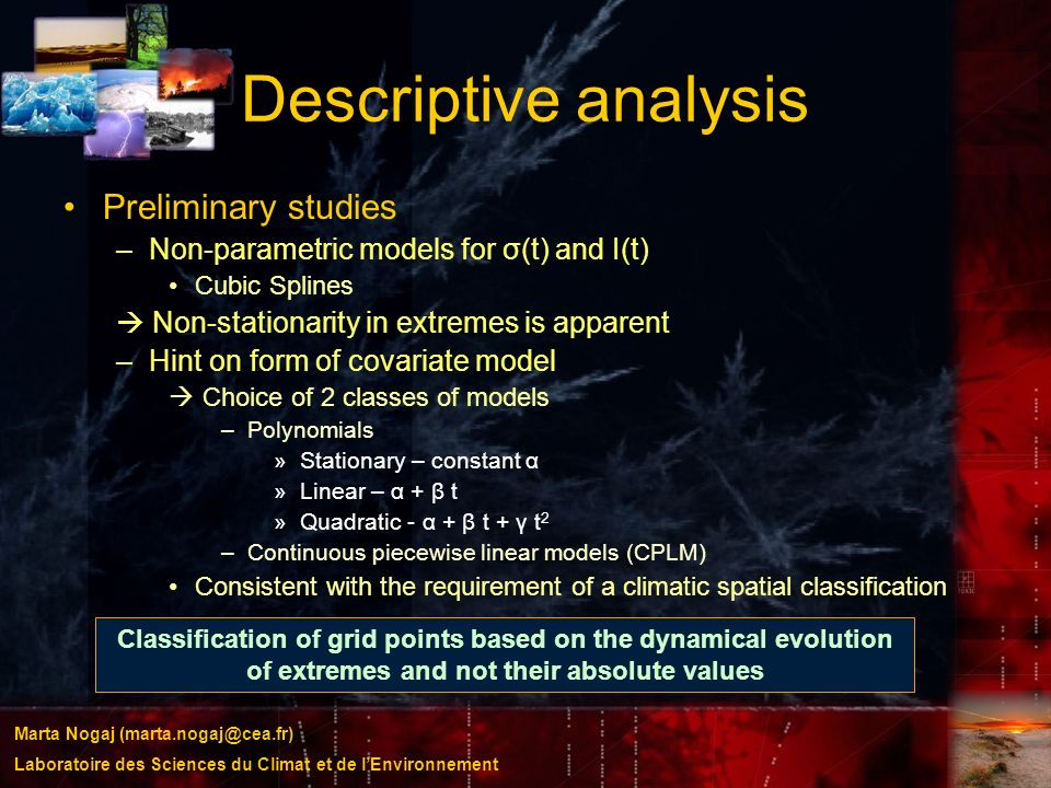 Descriptive analysis Preliminary studies