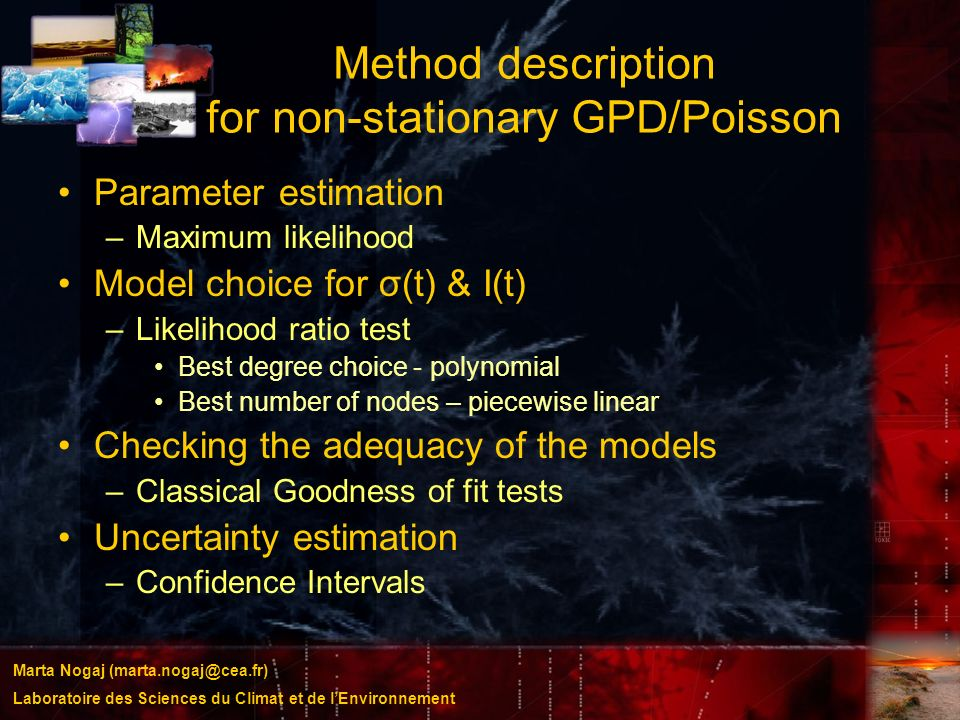 Method description for non-stationary GPD/Poisson