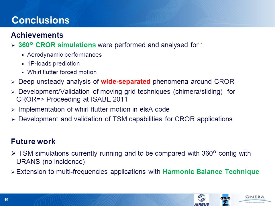 Conclusions Achievements. 360° CROR simulations were performed and analysed for : Aerodynamic performances.