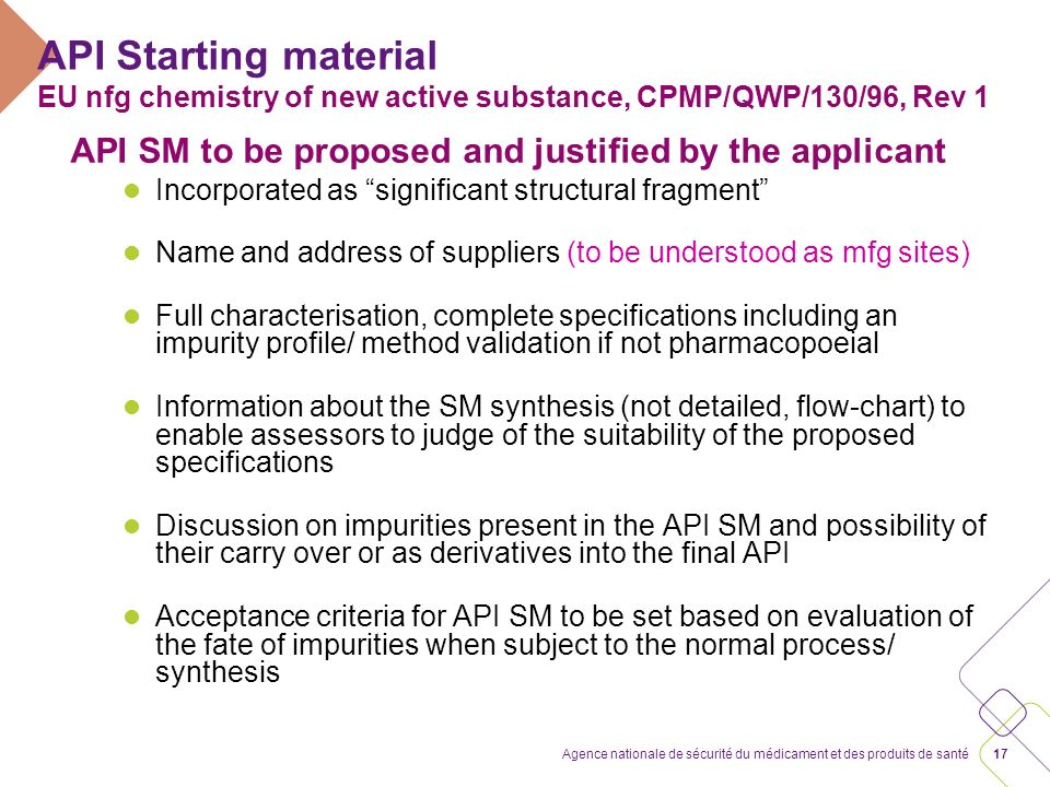 API Starting material EU nfg chemistry of new active substance, CPMP/QWP/130/96, Rev 1