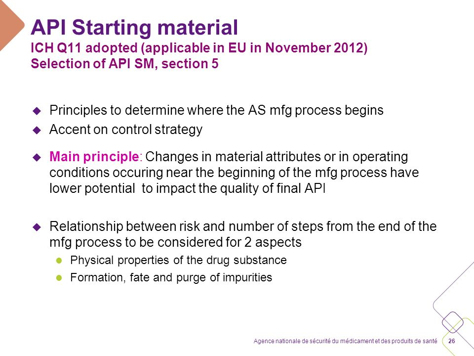 API Starting material ICH Q11 adopted (applicable in EU in November 2012) Selection of API SM, section 5