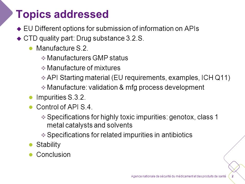 Submission of data on APIs: Module 3 EU nfg Summary of requirements for AS in the Q part of the dossier, CHMP/QWP/297/97 Rev 1 corr