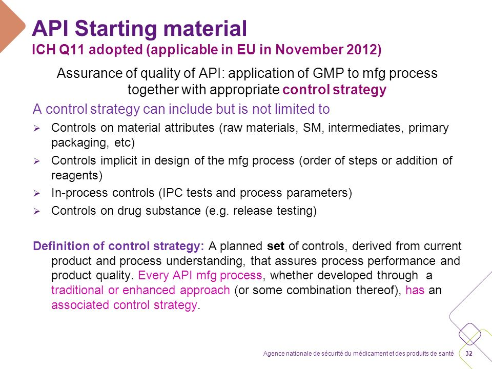 API Starting material ICH Q11: example of application of principles of API SM selection together and not in isolation