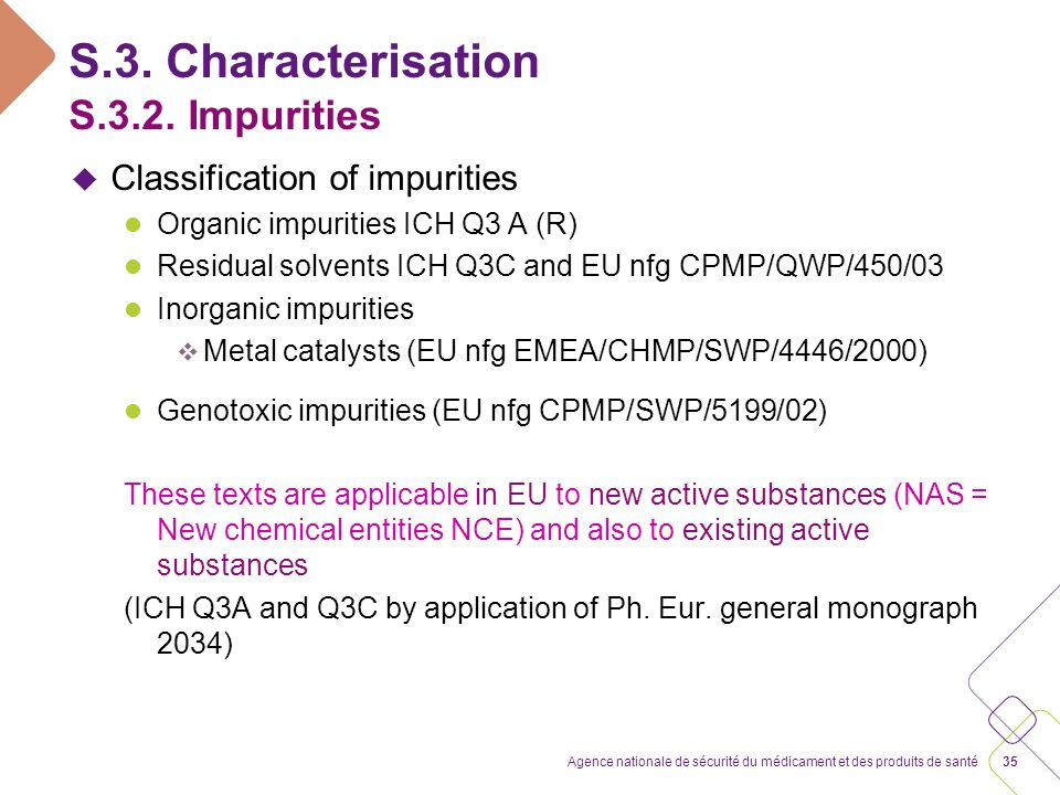 S.3. 2. Impurities Related substances & thresholds to apply