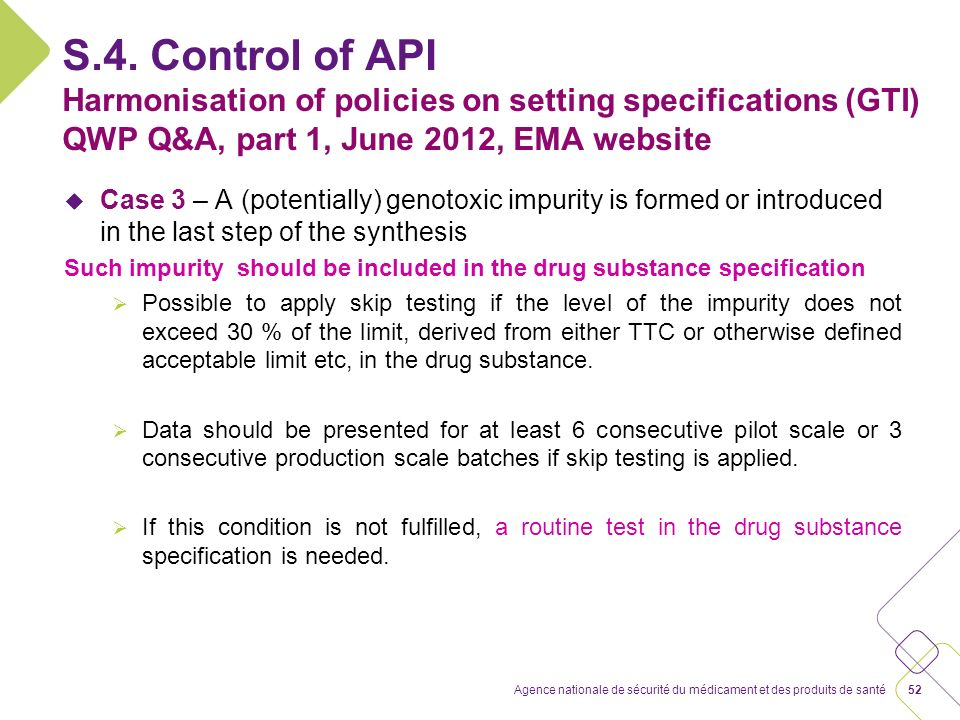 S.4. Control of API Setting specifications for impurities in antibiotics NEW, EU nfg EMA/CHMP/CVMP/QWP/199250/2009, effective end June 2013