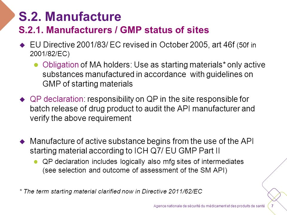 S.2. Manufacture S.2.1. Manufacturers / GMP status of sites
