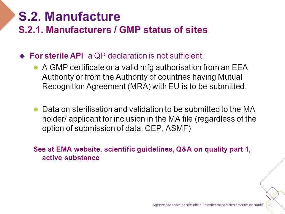 S.2. Manufacture Mixture(s) of API(s) and excipients QWP Q&A Quality, Part 1 and 2