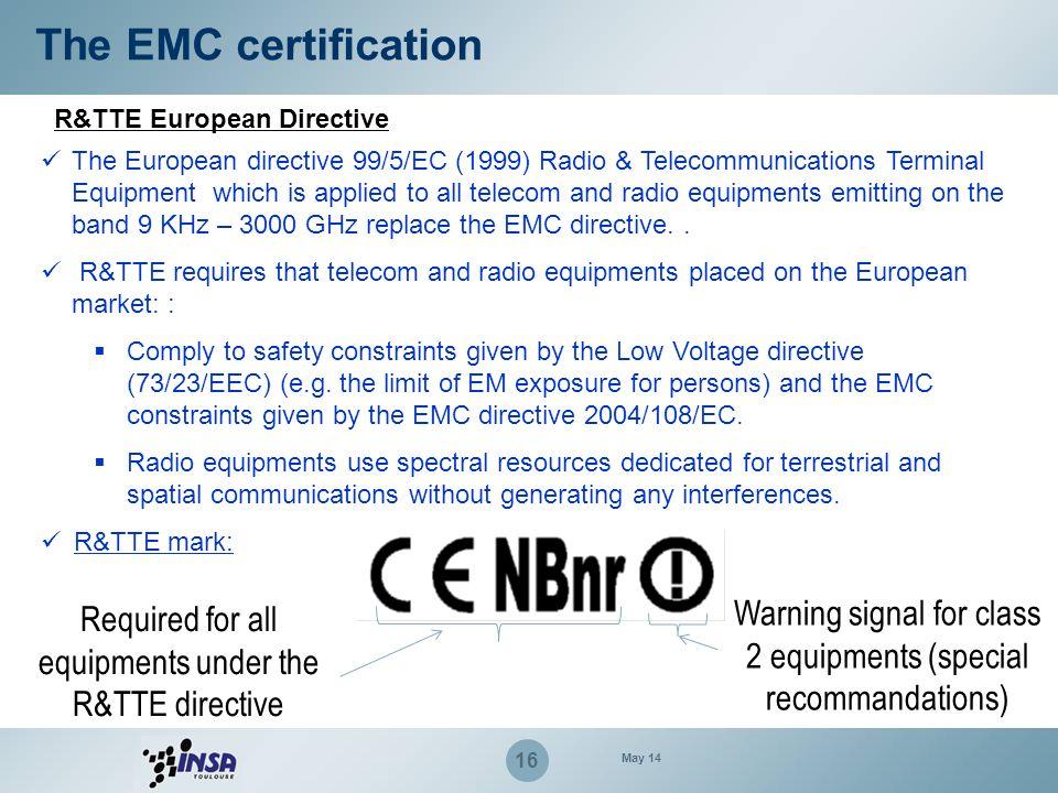 The EMC certification R&TTE European Directive.