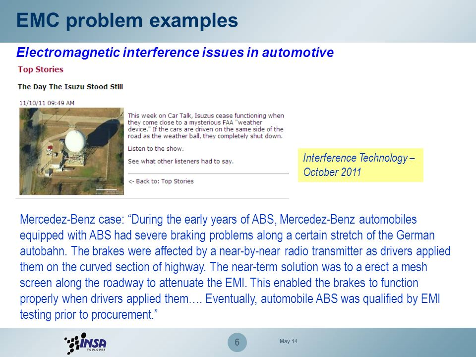 EMC problem examples Electromagnetic interference issues in automotive