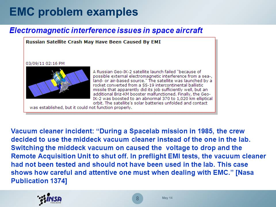 EMC problem examples Electromagnetic interference issues in space aircraft.