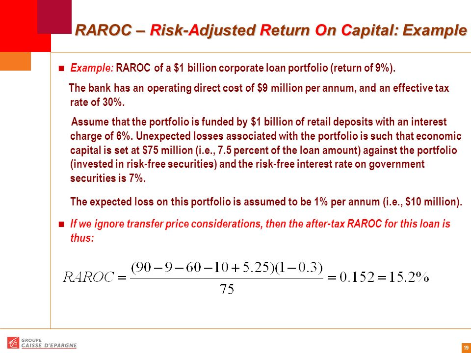 RAROC – Risk-Adjusted Return On Capital: Example
