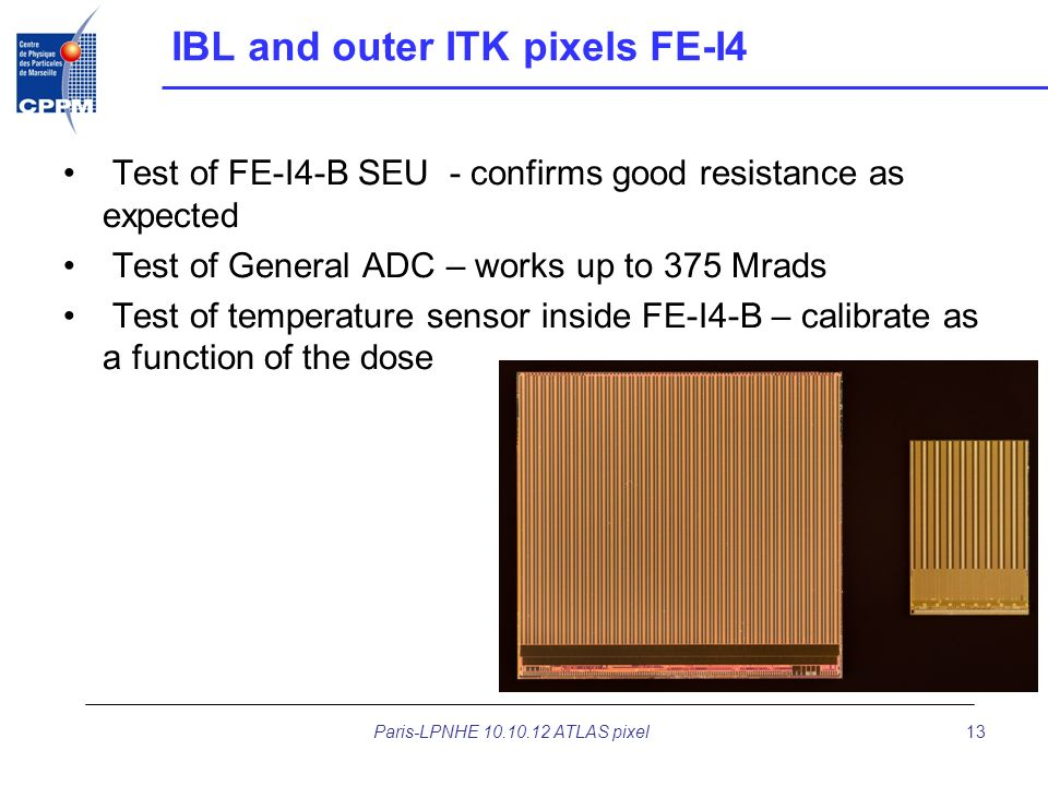 IBL and outer ITK pixels FE-I4