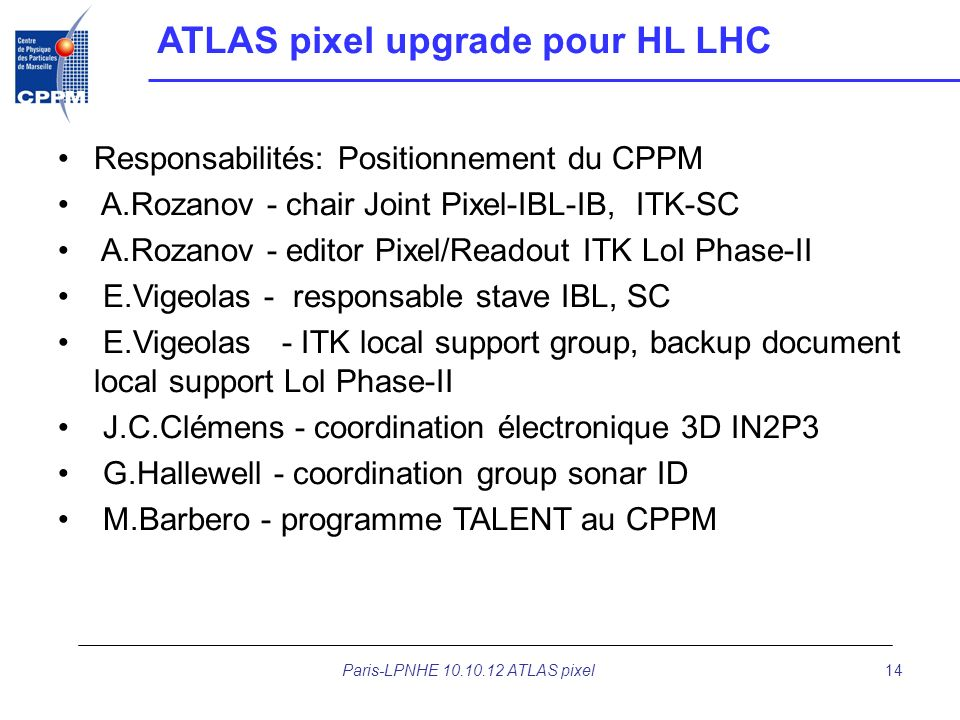 Paris-LPNHE 10.10.12 ATLAS pixel