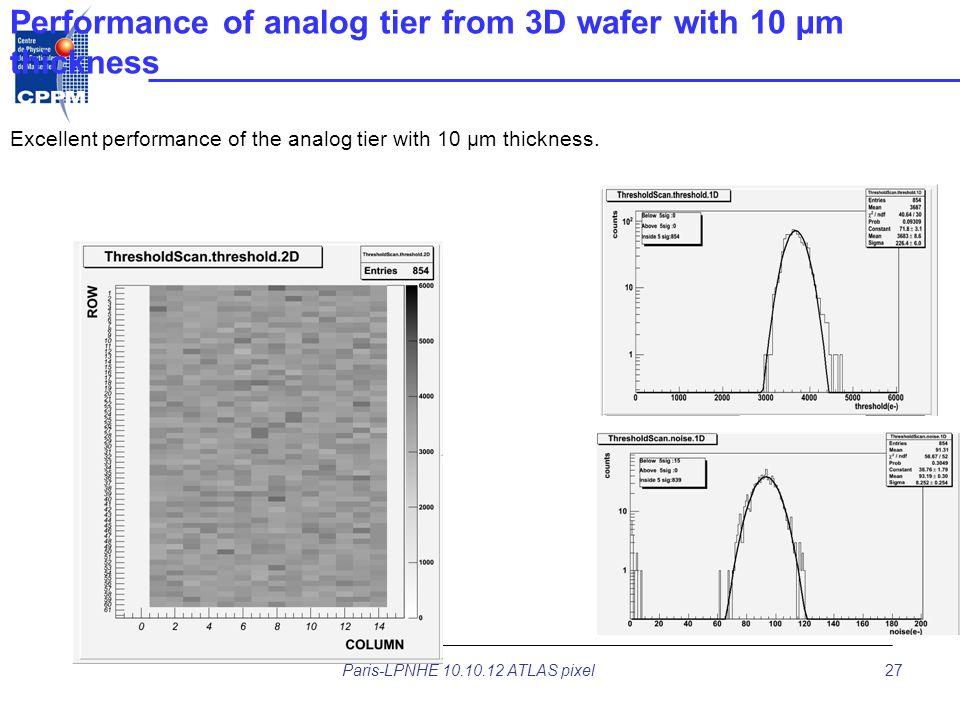 Performance of analog tier from 3D wafer with 10 µm thickness