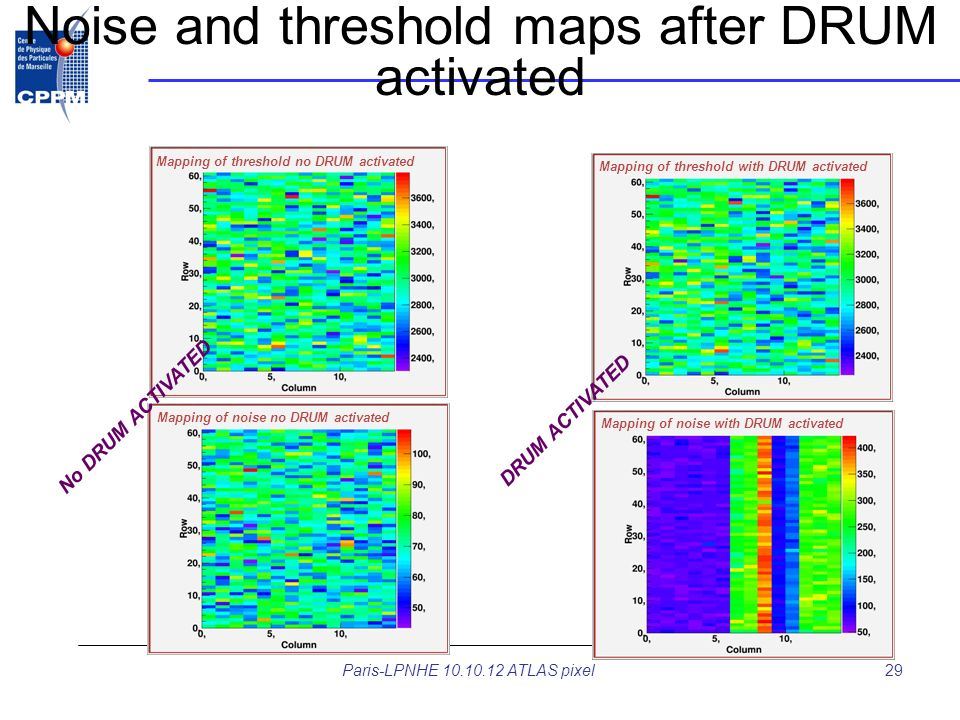 Noise and threshold maps after DRUM activated