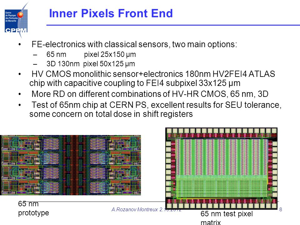 Inner Pixels Front End FE-electronics with classical sensors, two main options: 65 nm pixel 25x150 µm.