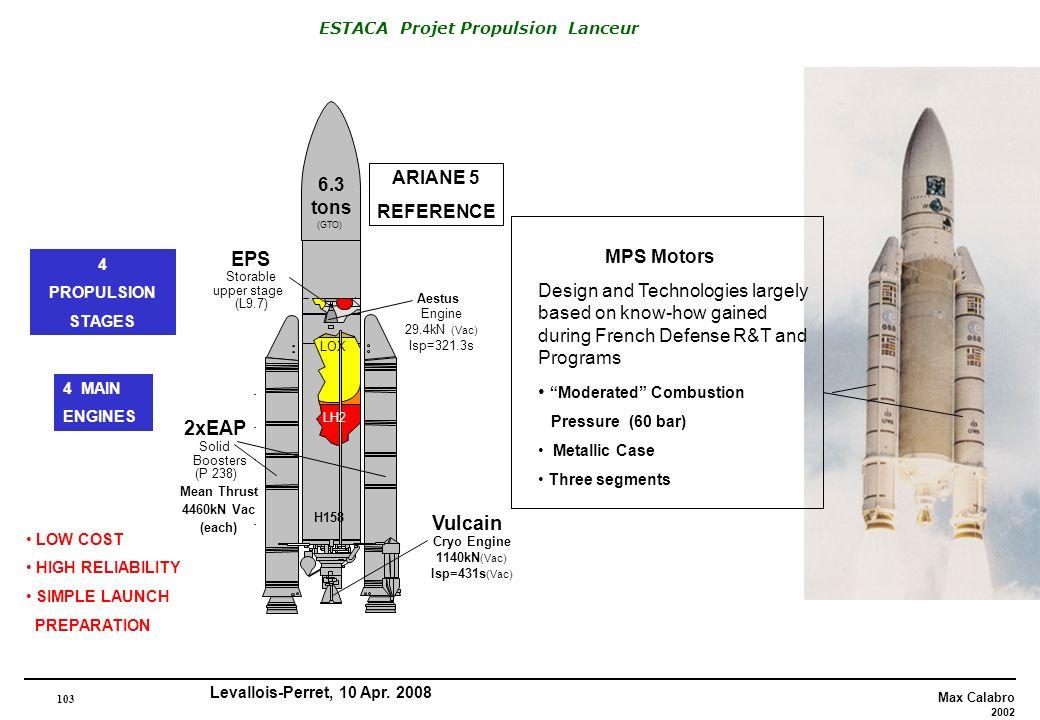 EPS 2xEAP Vulcain ARIANE 5 6.3 REFERENCE tons MPS Motors