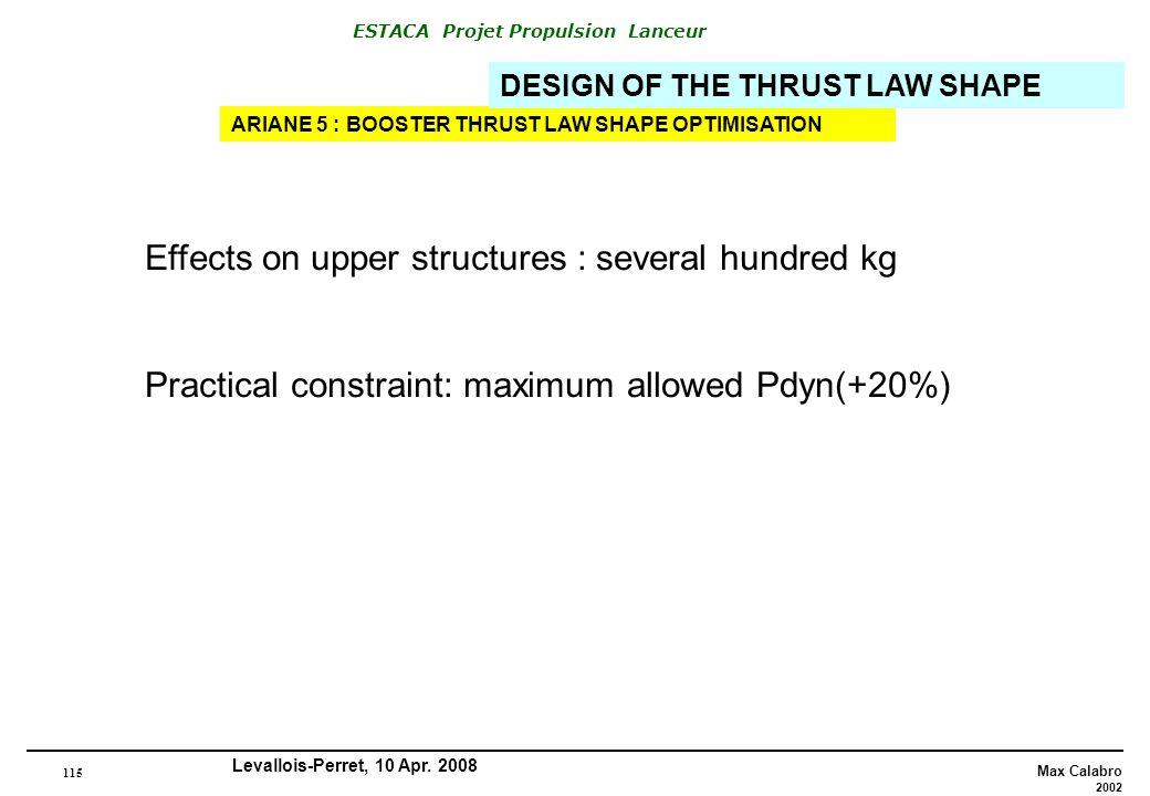 Effects on upper structures : several hundred kg