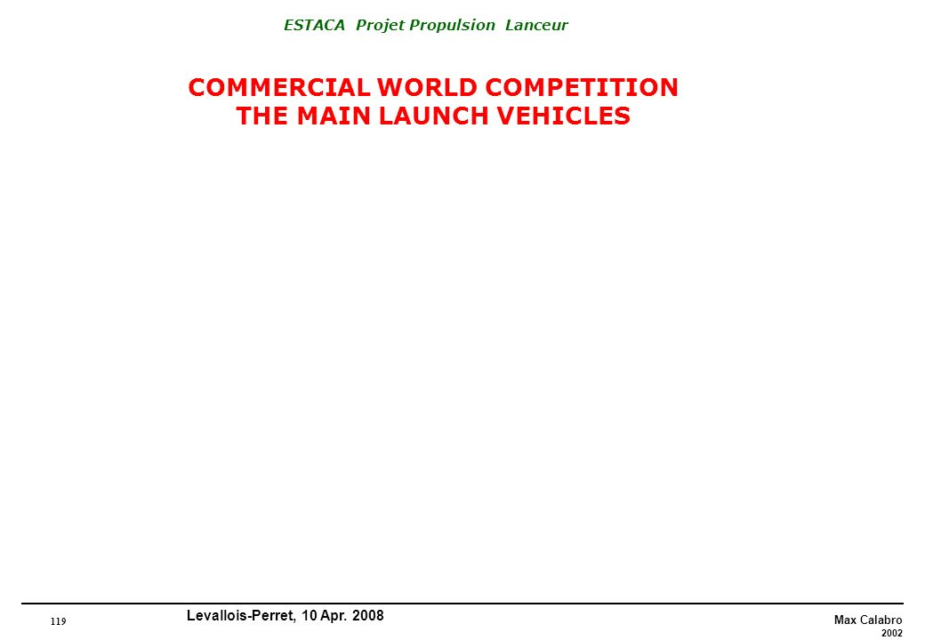 COMMERCIAL WORLD COMPETITION THE MAIN LAUNCH VEHICLES
