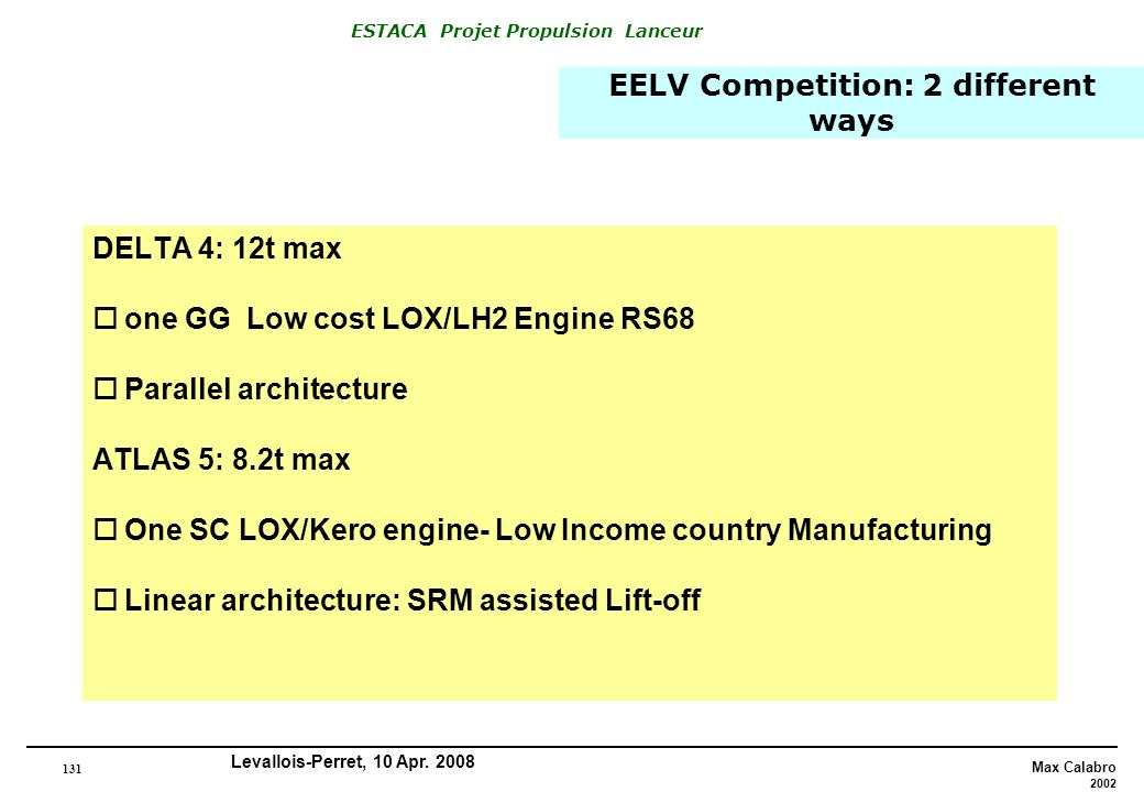 EELV Competition: 2 different ways