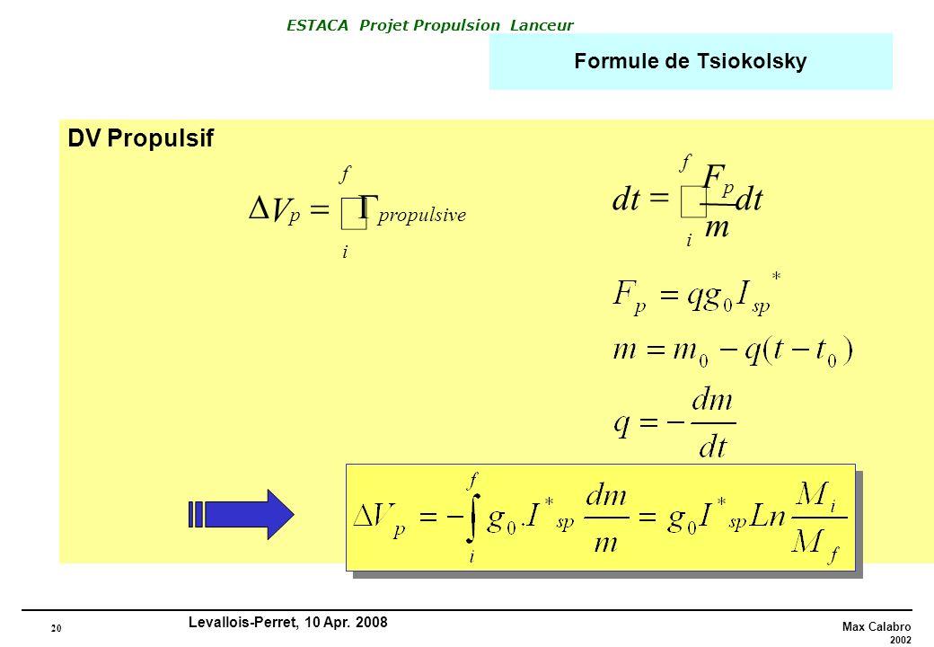 ò ò dt m F = D = V G DV Propulsif Formule de Tsiokolsky i f f p p
