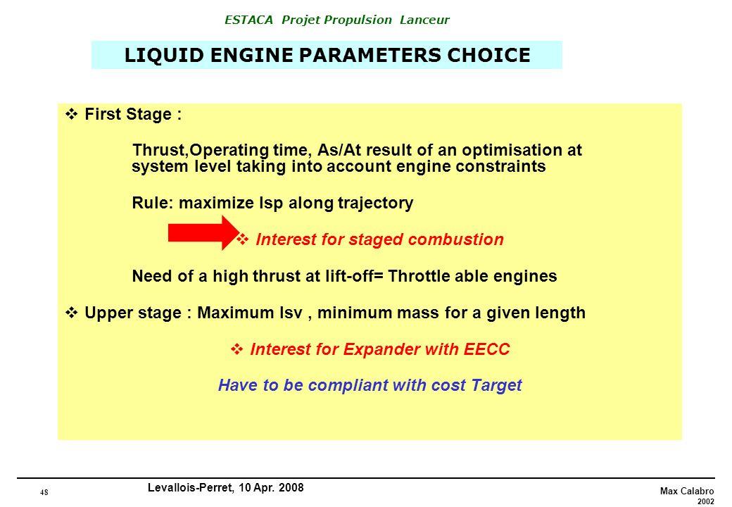 LIQUID ENGINE PARAMETERS CHOICE