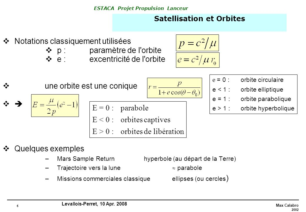 Satellisation et Orbites
